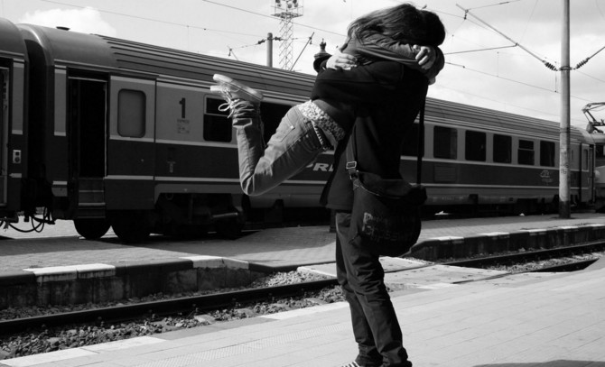 deep love in couple HD wall paper on train station
