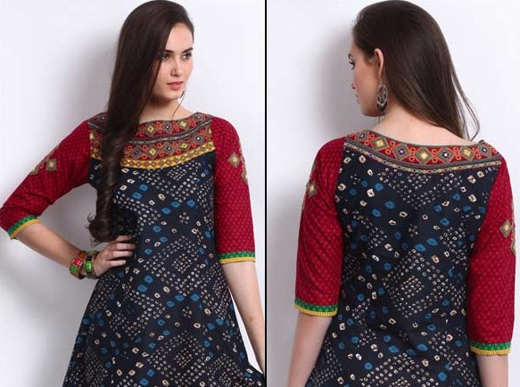 Boat Shaped Neckline For Churidar Suits