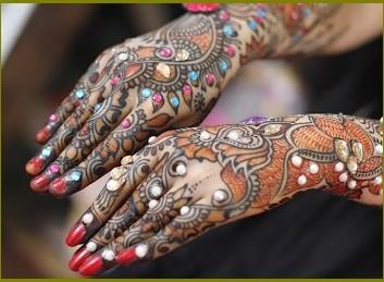 colorful stone mehndi design