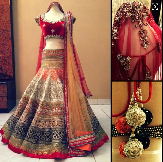 multi color bridal lahenga