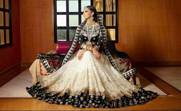 white black bridal lehenga