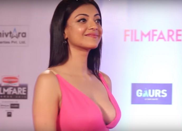 kajal aggrawal in hot pink dress