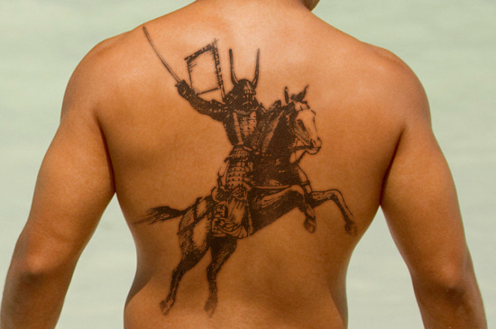 riding horse samurai tattoo design