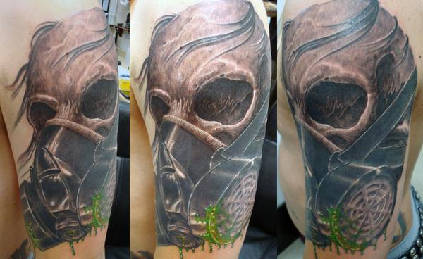 skull gas tattoo for females