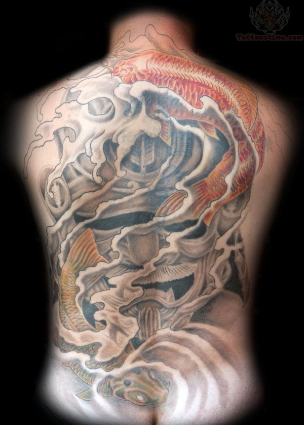 Samurai Dagger And Koi Tattoo On Back