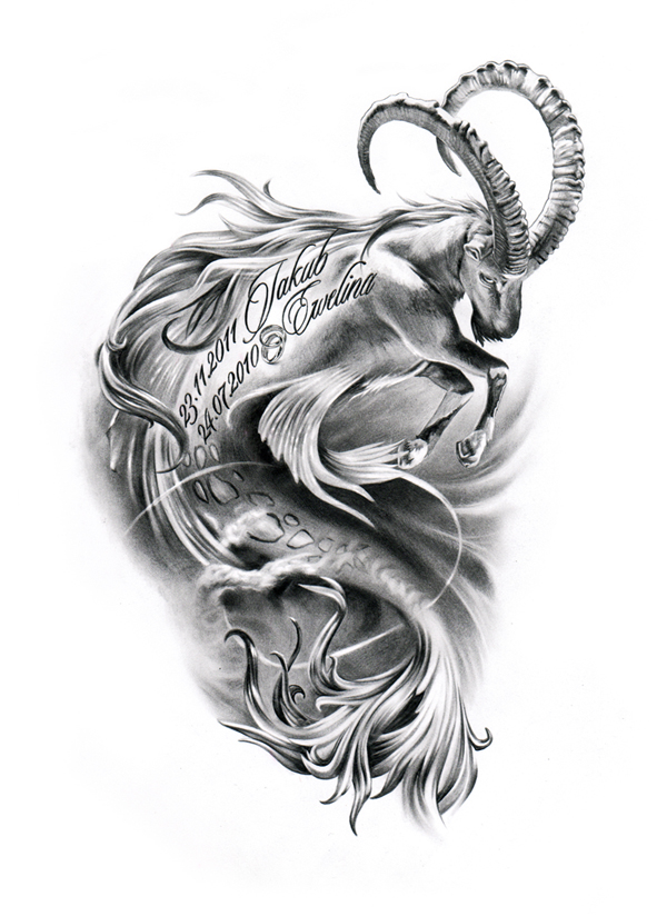 sketch capricorn tattoo