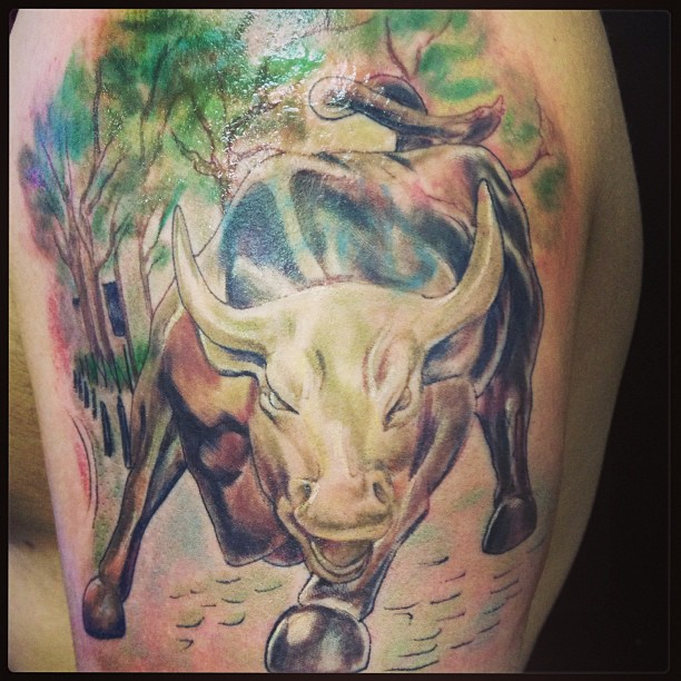colored bull tattoo design