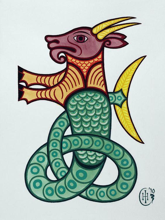 painted symbol of capricorn tattoo