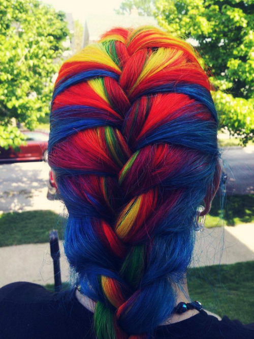 Colorful emo hairstyle