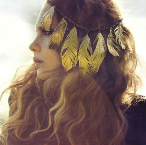 feather band hippie hairstyle