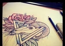 capricorn head tattoo design