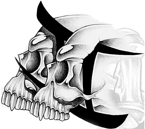 head skull gemini tattoo design