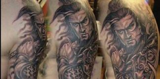 samurai grey inked tattoo design