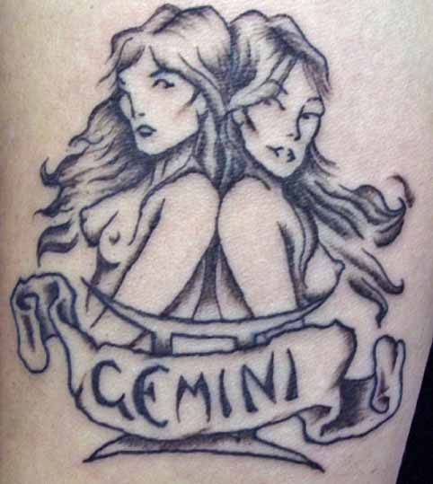 sun sign of the gemini tattoo design