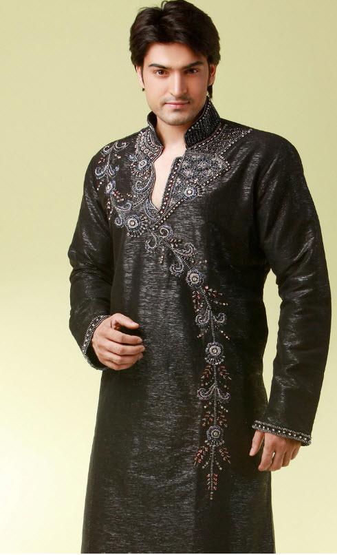 kurta in black for boys
