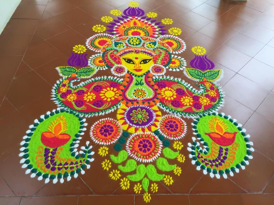 Goddess rangoli design for deepawali