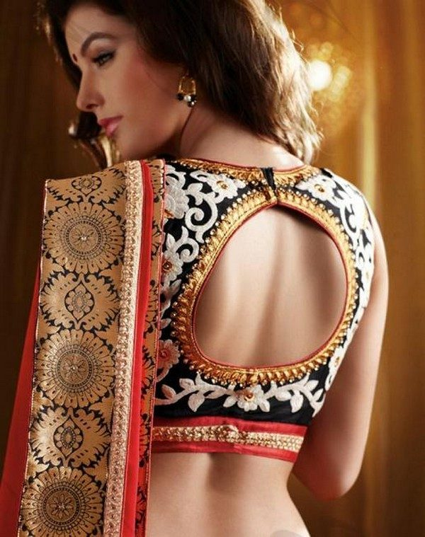 circular back design for silk saree