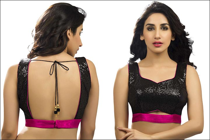 stylish black blouse design fr silk saree