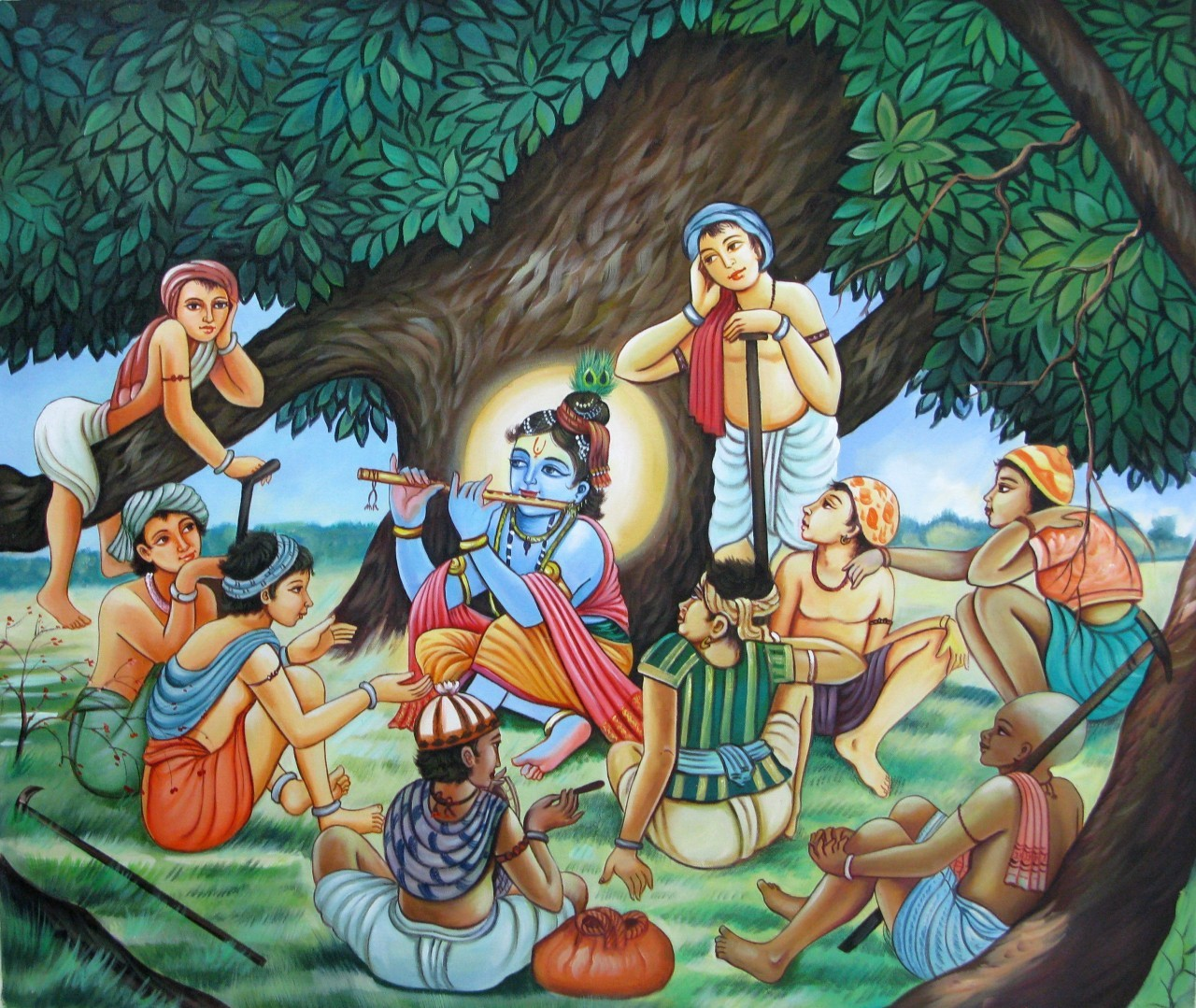 lord krishna playing friends